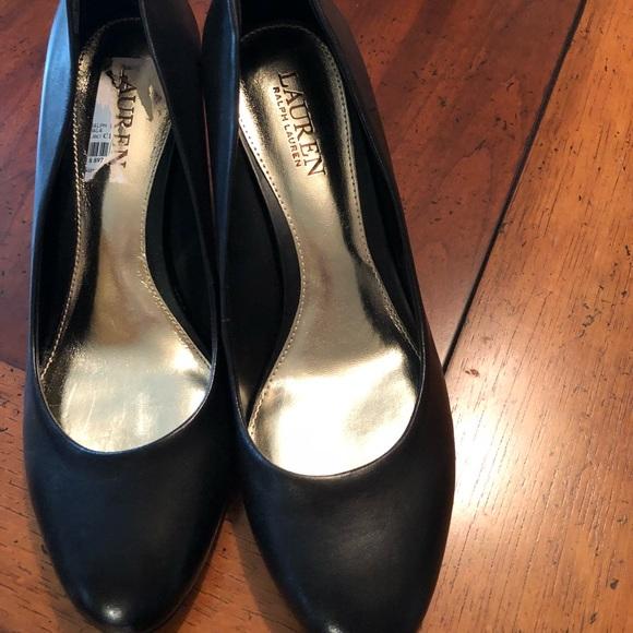 30ee35416ed Ralph Lauren black chunky heel pumps